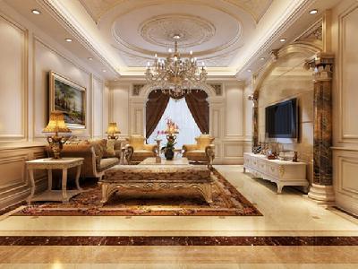背景,墙面的镜框线很好的达到了装饰效果,玉石雕花壁炉成为客厅通外图片